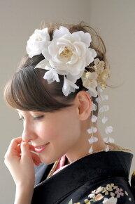 着物スタイルにおすすめな、白系髪飾りセット