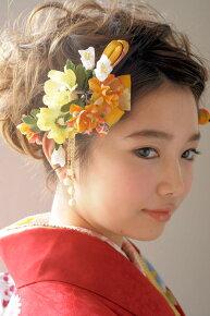 黄色系,花髪飾りセット(着用モデル:早川まいちゃん)