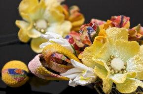 黄色系,花髪飾りセット