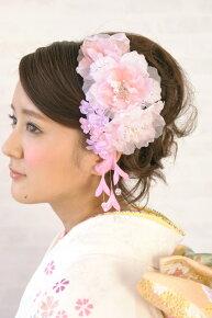 【髪飾り】ピンク系,着物スタイルのヘアアレンジに