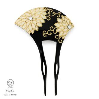 雞腿 kanzashi 引腳正式黑色黑白色菊花花金音瘸腿鑽婚禮党和服和服在日本兩腳裝飾