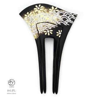 雞腿 kanzashi 引腳正式黑黑花波水鑽金音瘸腿婚禮党和服和服在日本兩腳裝飾