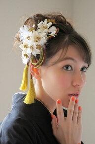 髪飾り,振袖,成人式,袴,お花,白,組紐(モデルlilaちゃん)