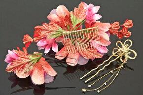 髪飾り3点セット成人式振袖卒業式袴はかまローズレッドゴールド花簪かんざしお正月着物結婚式ドレスヘアアクセサリーふりそで髪留め髪かざり