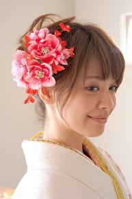 ピンク系,花髪飾り