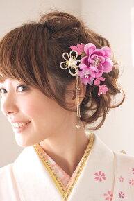 ピンク系,着物スタイルに,髪飾り