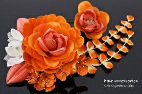 ラメ付き、オレンジ系髪飾りセット