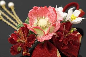 髪飾り3点セット成人式振袖卒業式袴はかま赤ピンク花和柄縮緬簪かんざし髪かざり結婚式ドレス婚礼着物ふりそで髪留め