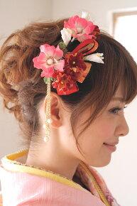 赤・ピンク系,和柄デザイン,髪飾りセット