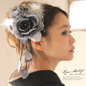 大きなシルバーのバラ髪飾り