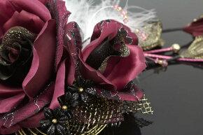 髪飾り成人式振袖卒業式袴はかま結婚式バラボルドー×ブラック着物ドレス和服和装婚礼髪留めヘアアクセサリーふりそで髪かざり