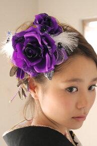 ファー付き、花髪飾り