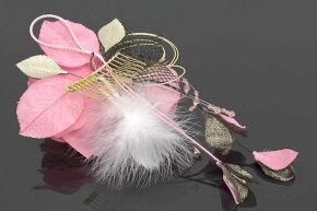 髪飾り浴衣成人式振袖卒業式袴はかま結婚式大きなバラピンク×ブラック着物ドレス和服和装婚礼髪留めヘアアクセサリーふりそで髪かざり