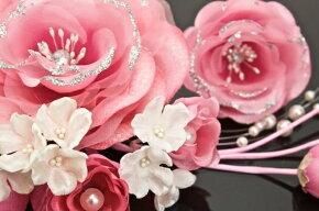 髪飾り2点セット成人式振袖卒業式袴はかまピンク花フラワーパールビーズブラヘアアクセサリーふりそで髪留め髪かざり