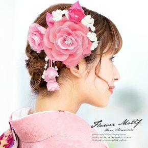 お花のブラがかわいいピンクの髪飾り2点セット