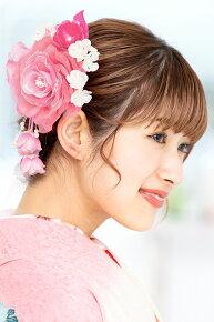 ピンク,お花髪飾りの大小2つがセットになったヘアアクセセット