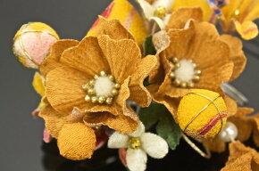 髪飾り2点セット成人式振袖卒業式袴はかま和柄リボンパールビーズ黄色花フラワー着物ふりそで髪かざり