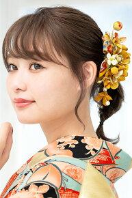 黄色,パールビーズが施された和柄縮緬地の髪飾りセット