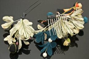 髪飾り2点セット青花フラワー和柄リボンパールビーズ成人式