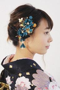 和柄縮緬地の髪飾りセット