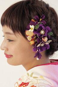 紫,着物スタイルおnおしゃれに,縮緬髪飾りセット