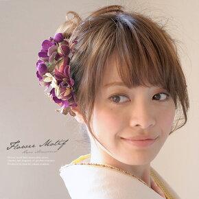 和柄縮緬地の髪飾りセットa