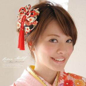 ぷっくり和柄の縮緬りぼん髪飾りa