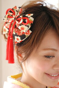 ぷっくり和柄の縮緬りぼん髪飾りb