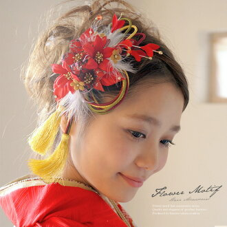 Ornament 2 point set coming of age ceremony kimono hakama is still red flower braid hair accessories trusting hair pinned hair