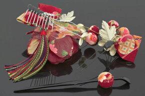 髪飾り成人式振袖卒業式袴はかま婚礼用髪かざり赤和柄組紐お花ふりそで簪かんざし