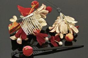 髪飾り3点セット赤花フラワー和柄リボンパールビーズ成人式【あす楽対応】