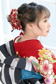 赤,和柄デザイン,髪飾りセット