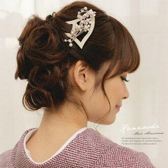雞腿髮夾白色花珍珠瘸腿總是在日本禮畢業婚禮和服和服做成中國裝飾品