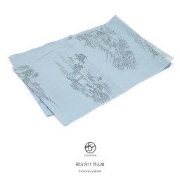 替袖 メンズ 水色 ライトブルー 梅雨風景 田畑の風景 絽 夏向き おそでじ 半襦袢 替え袖 かえそで 和装小物 【あす楽対応】【メール便対応】