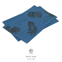 替袖 メンズ 青 ブルー 破れ地文 重ね色紙文 風景 藁葺き 山 おそでじ 半襦袢 替え袖 かえそで 和装小物 【あす楽対応】【メール便対応】