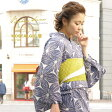 浴衣 3点セット(浴衣/半幅帯/下駄) レディース浴衣 女性用 bonheur saisons(ボヌールセゾン) Nostalgic Gallery「懐」 紺 麻の葉 綿麻 浴衣セット【フリーサイズ】【送料無料】【あす楽対応】