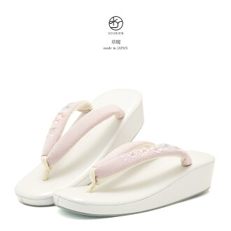Sandals White x pink made in Japan cherry blossoms embroidered M size L size formal casual