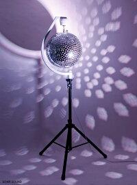 【モーター付きスタンド付属で手軽に設置!】くるくるミラーボール直径30cm丸鏡型照明機材舞台照明イベントなどに!