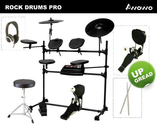 全てセット!リアルキックモデル!電子ドラム(エレドラ/デジタルドラム)AWOWO ROCK-Drum Pro