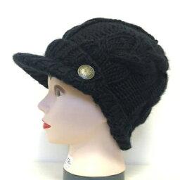 ボタン付きキャスケット 黒 C010 帽子 医療用帽子 PEER【PE】