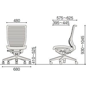 epios(エピオスチェア)メッシュ/ハイバック/肘なし/樹脂脚:T1/ブラックT(ロッキングレンジ調節タイプ)