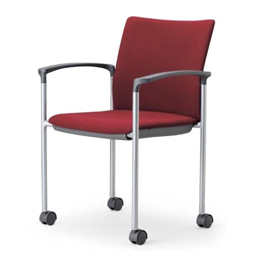 ミーティングチェア椅子会議チェア肘付きキャスター脚紛体塗装角背タイプアイコMC-883