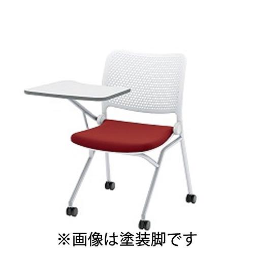 内田洋行ミーティングチェアブルーメヌードタイプメッキ脚テーブル付4本脚キャスター付