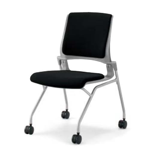 会議椅子ミーティングチェア水平スタック4本脚キャスターオルディナ肘なし背カバー付本体グレーコクヨCK-692E3C