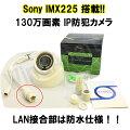 IPカメラSonyIMX225搭載!130万画素付属ソフトですぐに使える!ドーム型防犯カメラIPカメラ対応録画機(DVR)で使えるONVIF規格対応プラスチック筐体LAN防水仕様【自力志向】