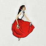 中原淳一刺繍ブローチ・赤いスカート