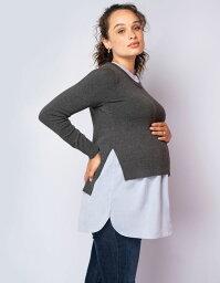 Seraphine FELISA <授乳対応>ハイ-ロウマタニティシャツセーター -グレイxブルー