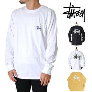 STUSSY ステューシー ロンT 長袖 Tシャツ カットソー ベーシックロゴ ブラック ホワイト 黒 白 S M L XL LL 2Lサイズ メンズ レディース トップス BASIC STUSSY LS TEE BLACK WHITE 大きいサイズ