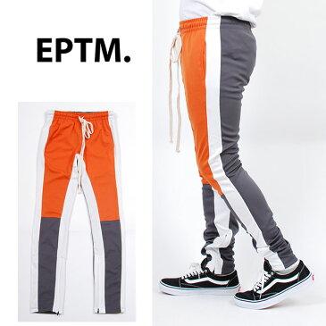 【送料無料】EPTM エピトミ 切り返しデザイン TECHNO TRACK PANTS ORANGE GREY WHITE テクノ トラックパンツ スキニー 細身 スリムパンツ ジャージ メンズ 男性 レディース 女性 オレンジ グレー 灰 ホワイト 白