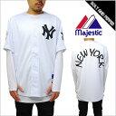 MAJESTIC ATHLETIC メッシュ ベースボールシャツ NEWYORK YANKEES ニューヨーク ヤンキース ベースボールシャツ ホワイト 白 ブラック 黒 メンズ 男性 レディース 女性 MBL MM21-NYK-0012-WHT1